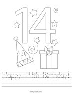 Happy 14th Birthday Handwriting Sheet