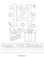 Happy 14th Birthday Handwriting Sheet