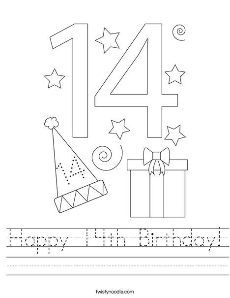 Happy 14th Birthday! Worksheet