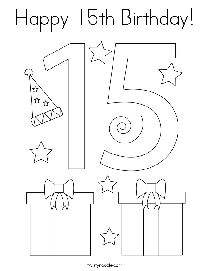 Happy 15th Birthday! Coloring Page