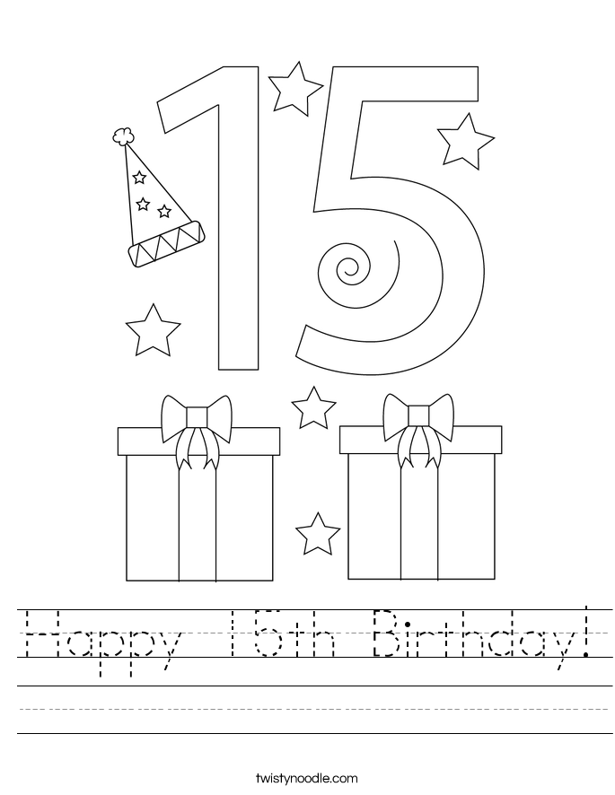 Happy 15th Birthday! Worksheet
