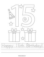 Happy 15th Birthday Handwriting Sheet