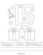 Happy 15th Birthday Handwriting Sheet