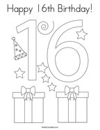 Happy 16th Birthday Coloring Page