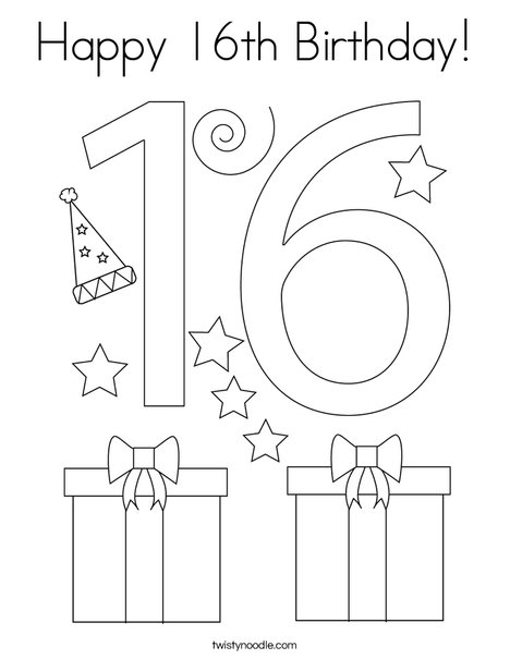 Happy 16th Birthday! Coloring Page