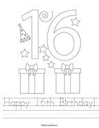 Happy 16th Birthday Handwriting Sheet