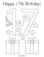 Happy 17th Birthday Coloring Page