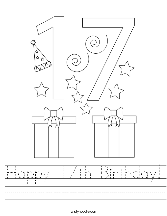 Happy 17th Birthday! Worksheet