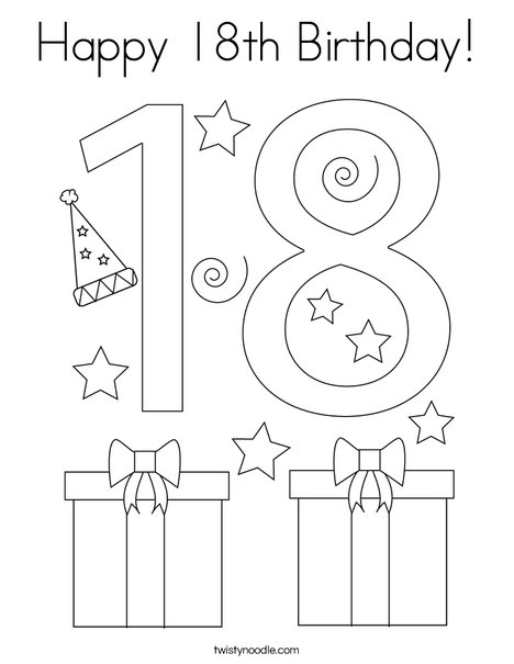 Happy 18th Birthday! Coloring Page