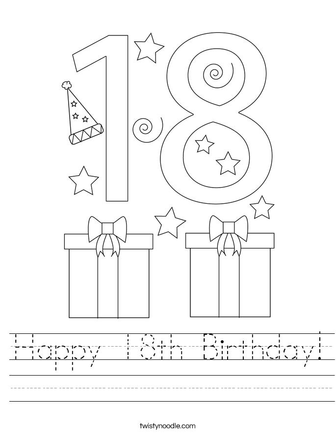 Happy 18th Birthday! Worksheet