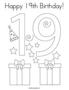 Happy 19th Birthday Coloring Page