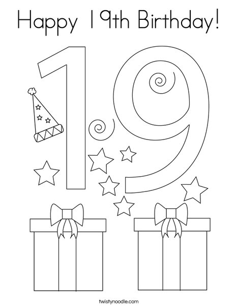 Happy 19th Birthday! Coloring Page