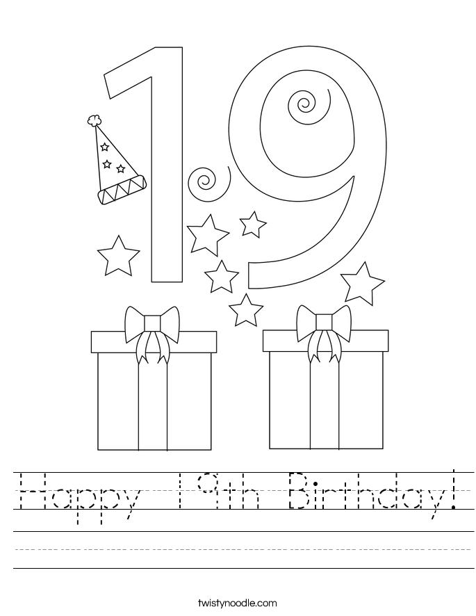 Happy 19th Birthday Worksheet - Twisty Noodle