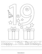 Happy 19th Birthday Handwriting Sheet