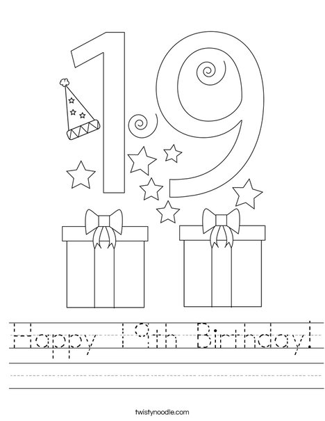 Happy 19th Birthday! Worksheet