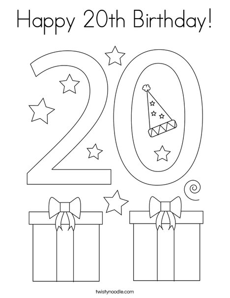 Happy 20th Birthday! Coloring Page