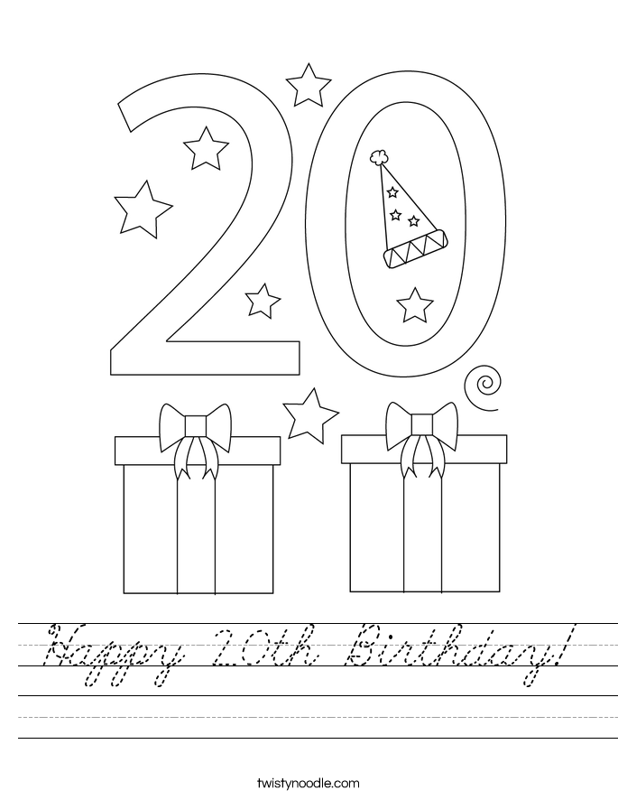 Happy 20th Birthday! Worksheet