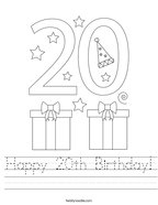 Happy 20th Birthday Handwriting Sheet
