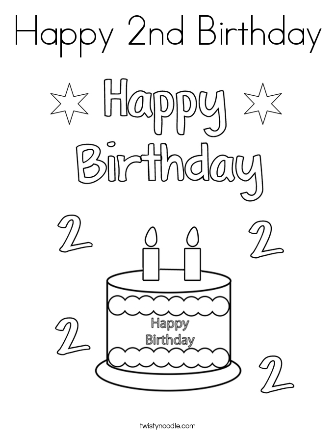 happy 2nd birthday coloring page