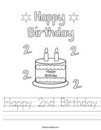 Happy 2nd Birthday Handwriting Sheet