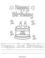 Happy 2nd Birthday Handwriting Sheet