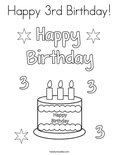 Happy 3rd Birthday! Coloring Page