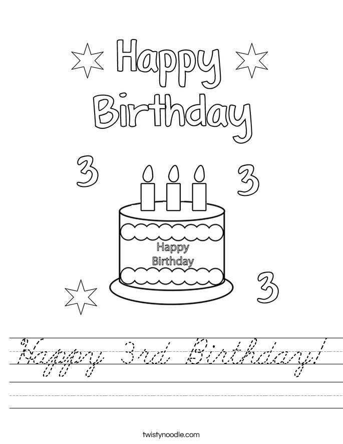Happy 3rd Birthday! Worksheet