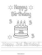 Happy 3rd Birthday Handwriting Sheet
