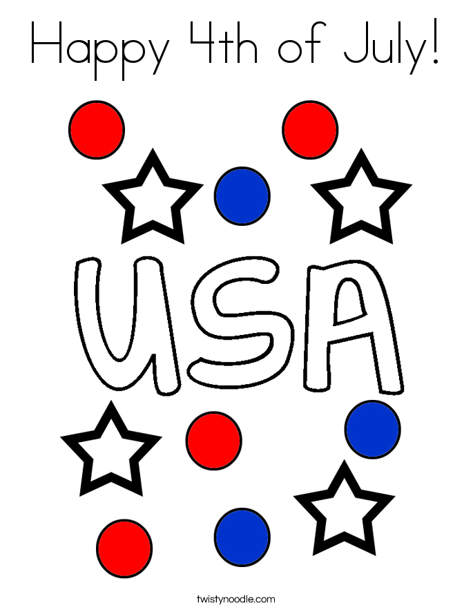 Happy 4th of July! Coloring Page