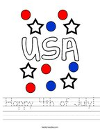 Happy 4th of July Handwriting Sheet