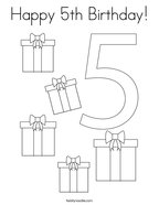 Happy 5th Birthday Coloring Page