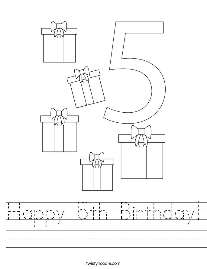 Happy 5th Birthday! Worksheet