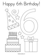 Happy 6th Birthday Coloring Page