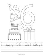 Happy 6th Birthday Handwriting Sheet