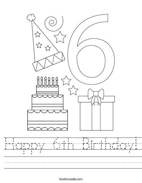 Happy 6th Birthday! Worksheet
