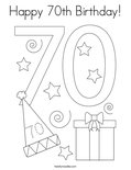 Happy 70th Birthday! Coloring Page