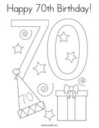 Happy 70th Birthday Coloring Page