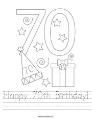Happy 70th Birthday Handwriting Sheet