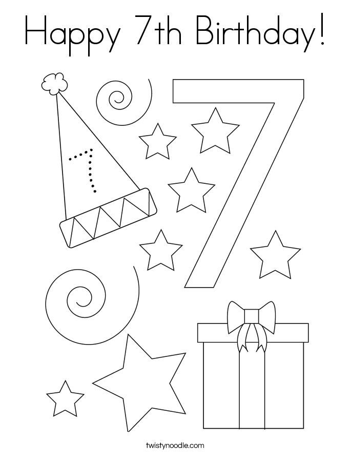 Happy 7th Birthday! Coloring Page