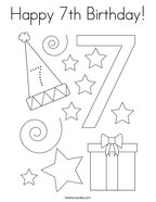 Happy 7th Birthday Coloring Page