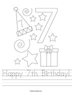 Happy 7th Birthday Handwriting Sheet