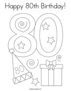 Happy 80th Birthday Coloring Page