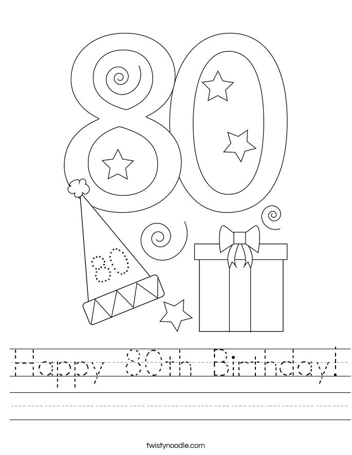 Happy 80th Birthday! Worksheet