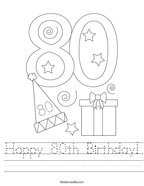 Happy 80th Birthday Handwriting Sheet