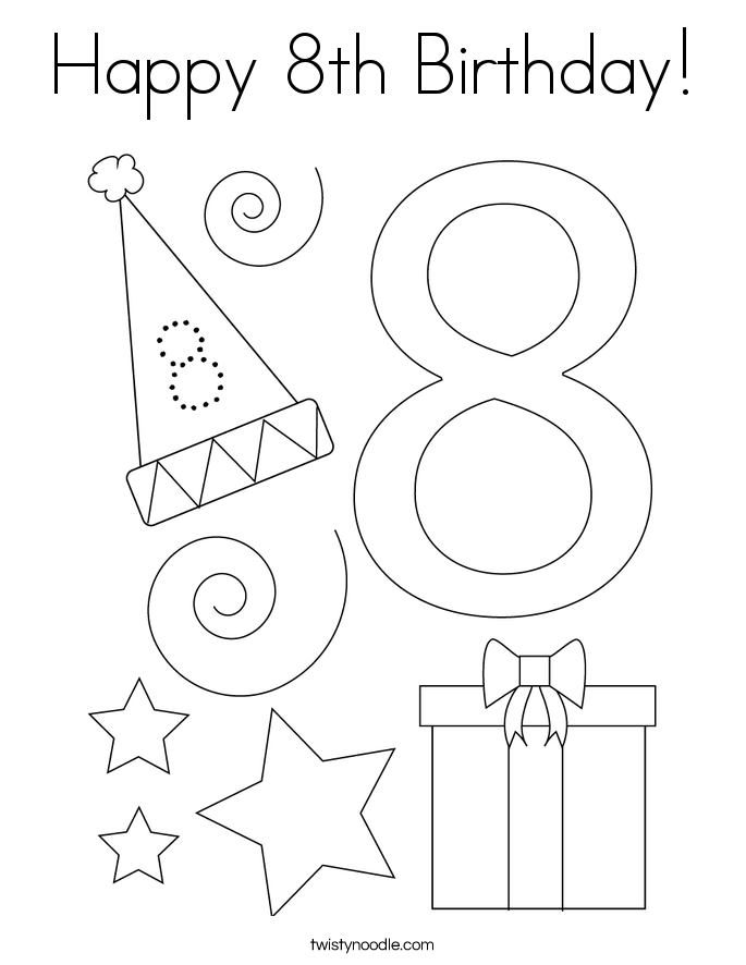 Happy 8th Birthday! Coloring Page