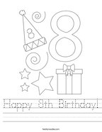 Happy 8th Birthday Handwriting Sheet