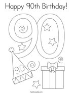 Happy 90th Birthday Coloring Page