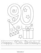 Happy 90th Birthday Handwriting Sheet