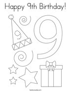 Happy 9th Birthday Coloring Page