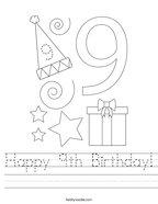 Happy 9th Birthday Handwriting Sheet